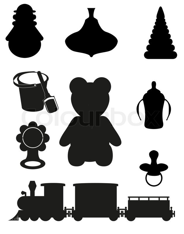 Icon of toys and accessories for babies and children black ...