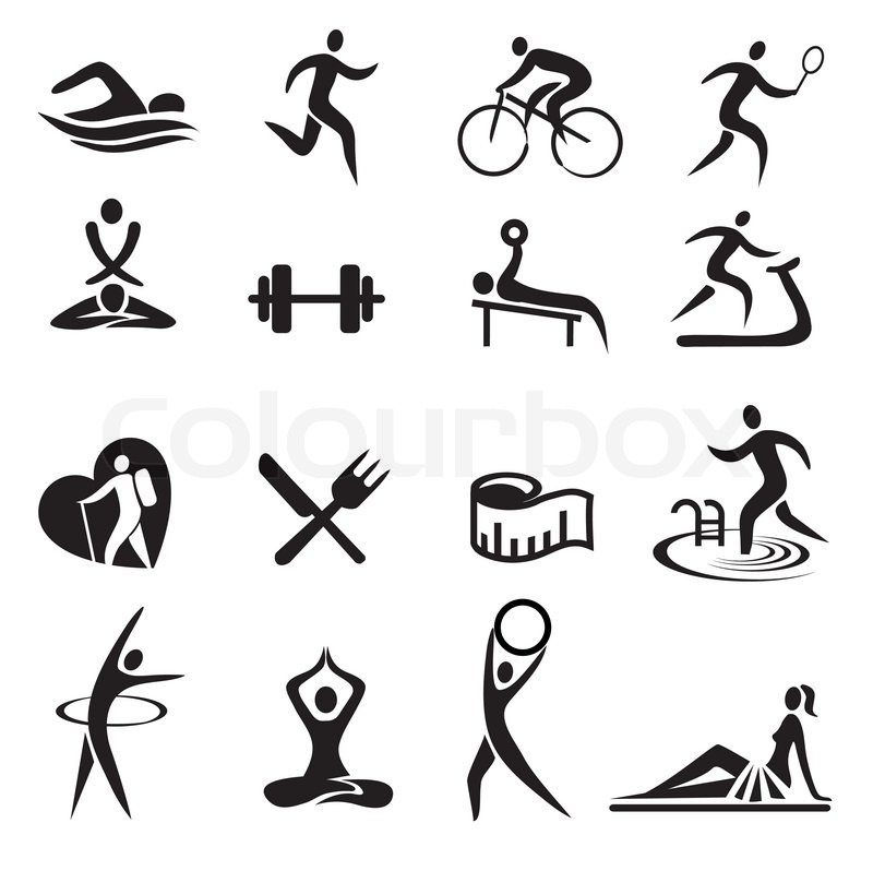 u0026quot;Black Sport fitness icons. Vector illustration.u0026quot; : Stock ...