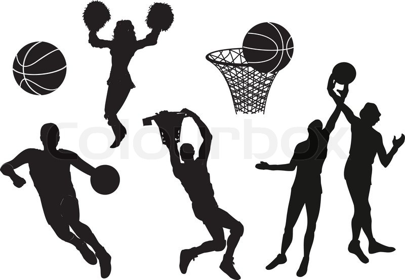 silhouettes of basketball players vector stock vector colourbox rh colourbox com basketball player victory from tacoma academy baseball player vector art free