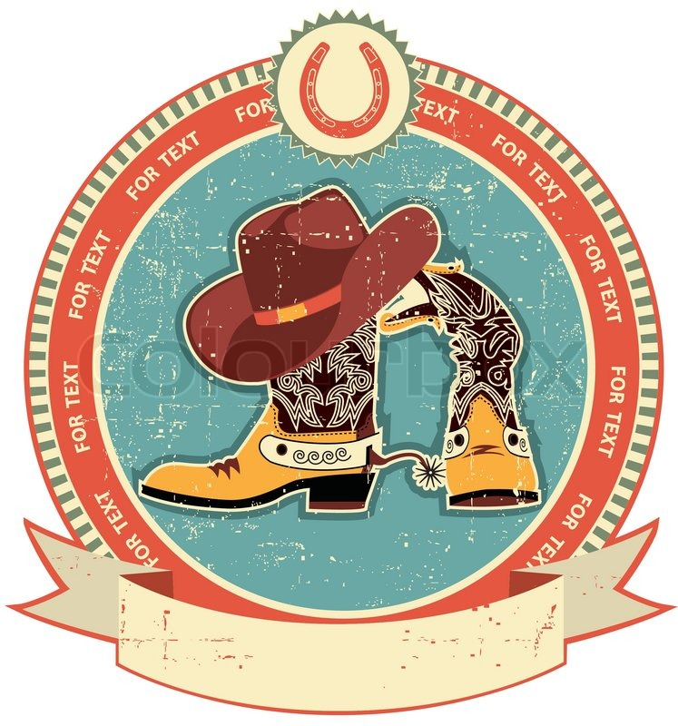 Cowboy Hat And Boots Background Cowboy Boots And Hat Label on