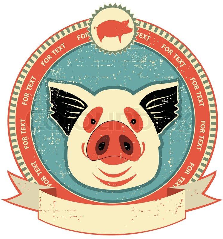 Schweinekopf Label auf altem Papier textureVintage Stil ...