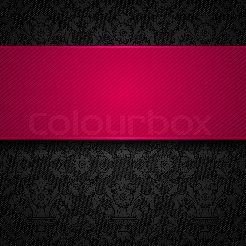 Ornament Template Fabric Texture Pink Ribbons Stock