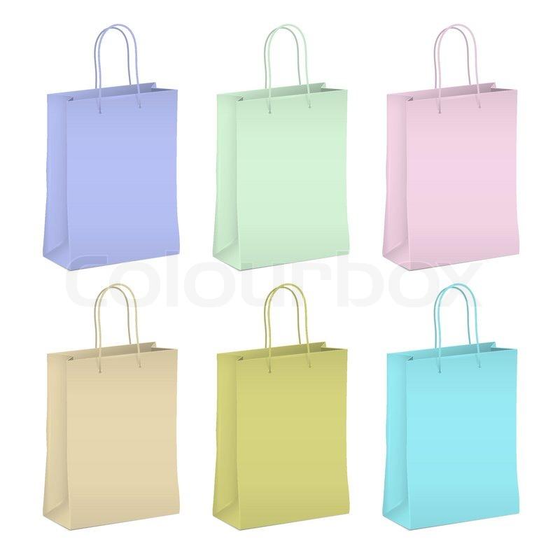sechs leere shopping papiert ten in pastellfarben. Black Bedroom Furniture Sets. Home Design Ideas