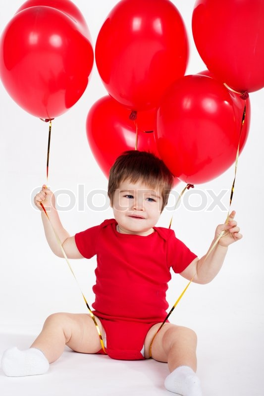 little baby boy with red balloons valentines day | stock photo, Ideas