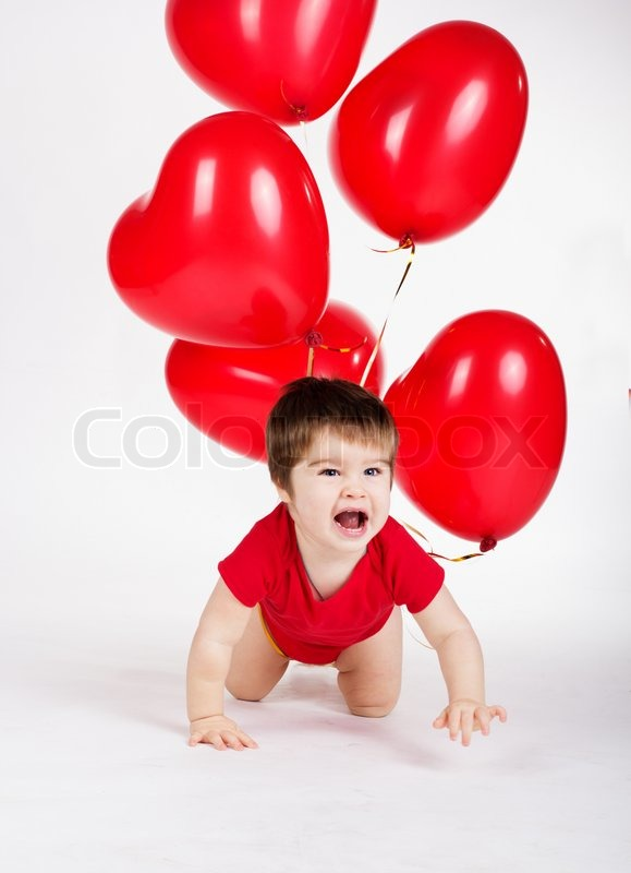 little baby boy with red balloons valentines day stock photo colourbox - Baby Valentine