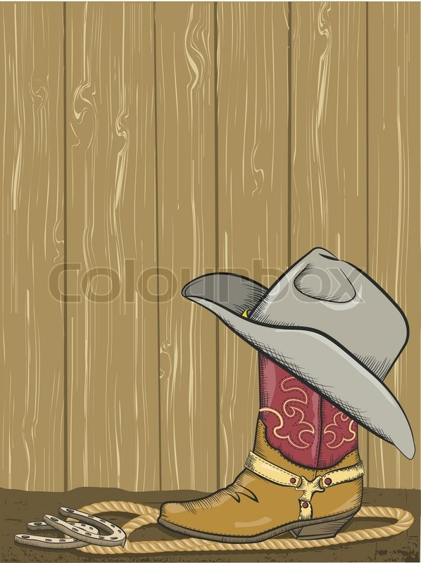 Cowboy Background With Boot And Western Hat On Wood Wall