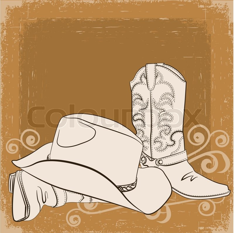 Cowboy Hat Sketch Cowboy Boots And Hat