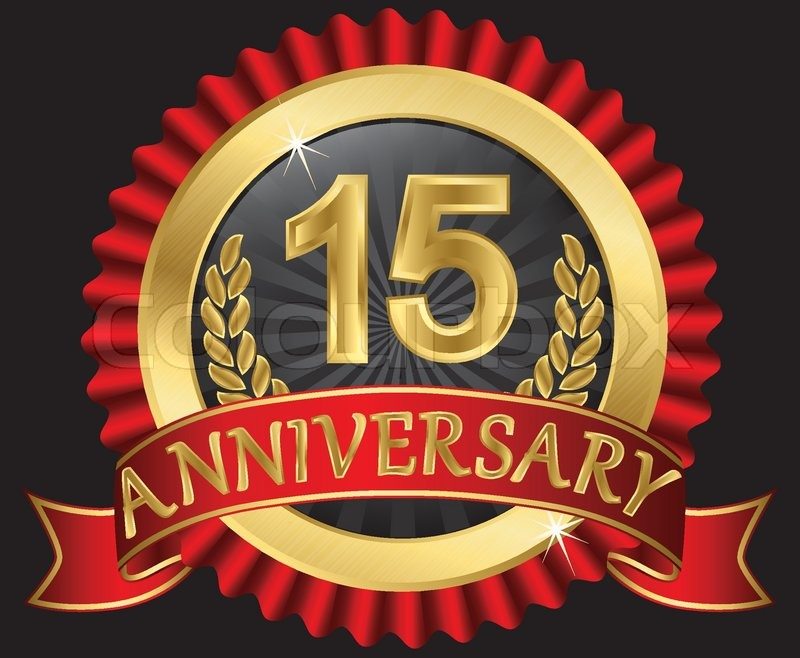 15 Years Anniversary Golden Label With Ribbons Vector Illustration