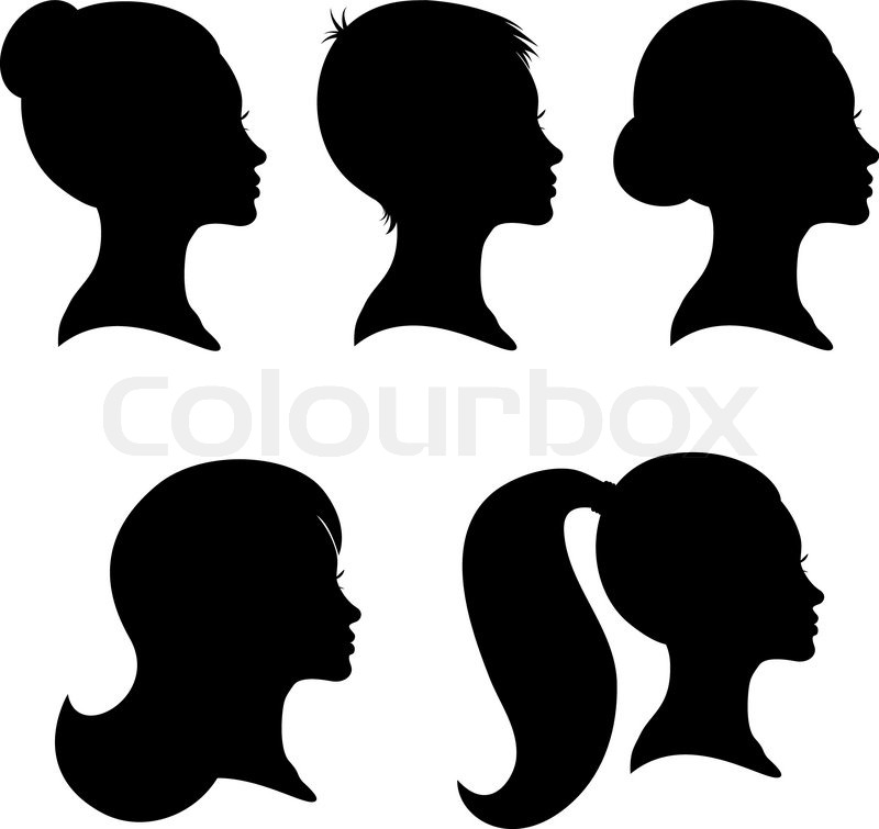Collection Of Woman Silhouettes From Profile With