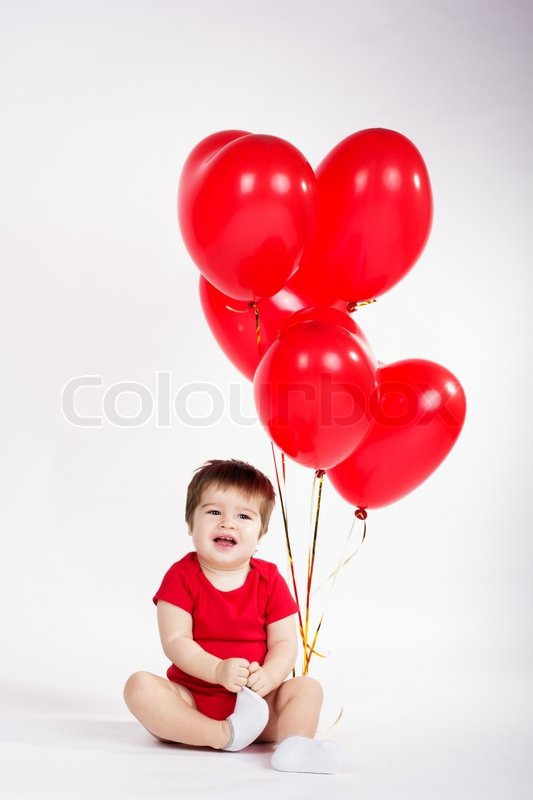 Little Baby Boy With Red Balloons Valentines Day Stock