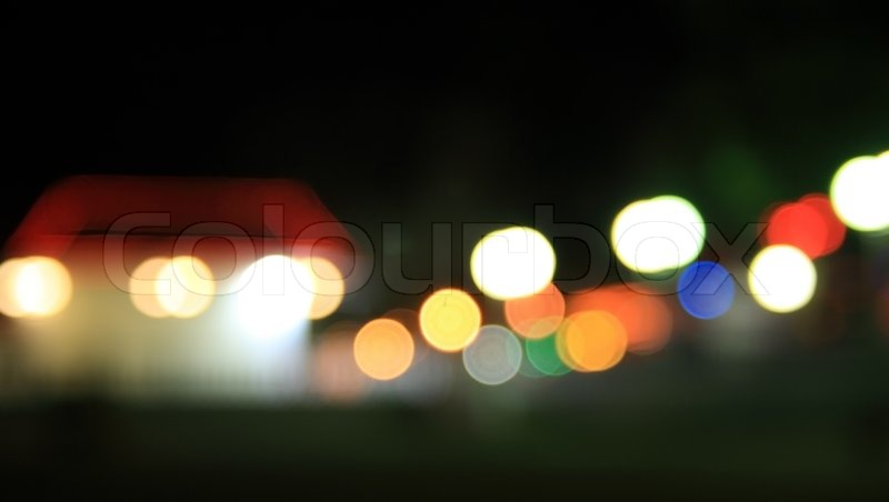 Holidays Lights in suburb Blurry pattern of colorful decoration lights, stock photo