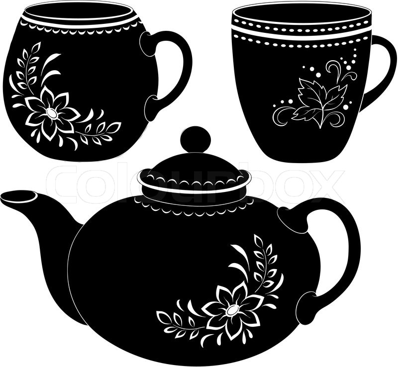Teapot And Cups Silhouettes Stock Vector Colourbox