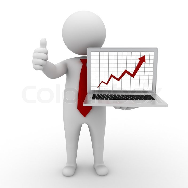 Business Man Standing And Showing Stock Image Colourbox