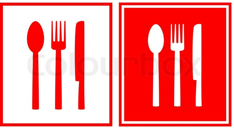 Set Of Two Red Restaurant Sign With Spoon Fork And Knife