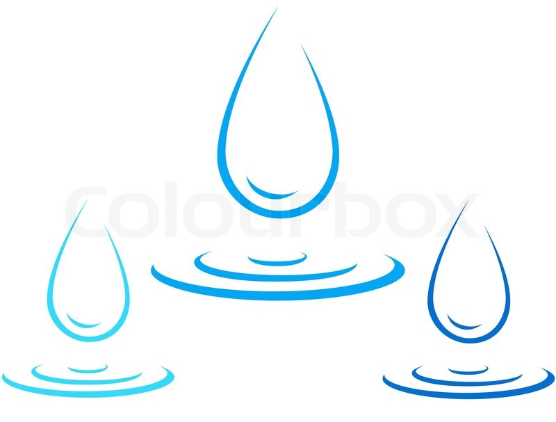 Set of colorful water drop icon with splash silhouette ...