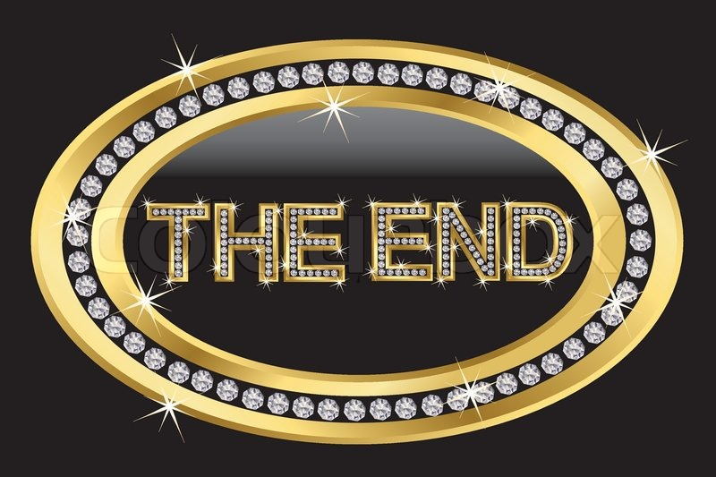 The End Icon Golden Button With Diamonds Vector