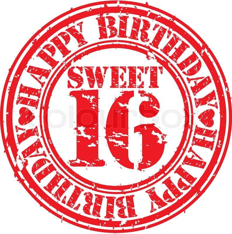 Grunge 16 Years Happy Birthday Rubber ...