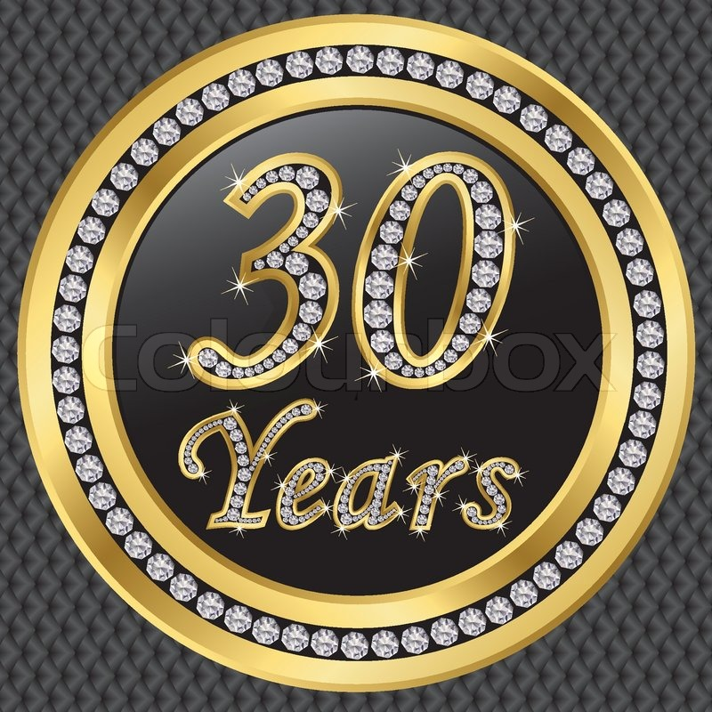30 Years Anniversary Golden Icon With Diamonds Vector Illustration
