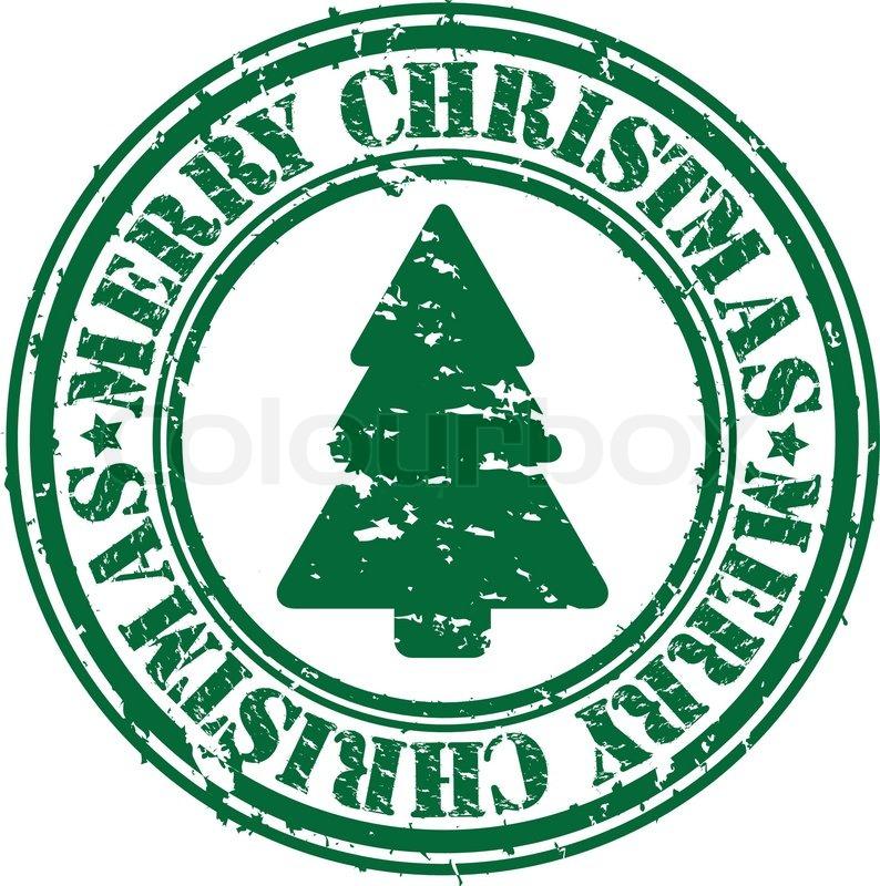 Grunge merry christmas rubber stamp, vector illustration   Stock ...