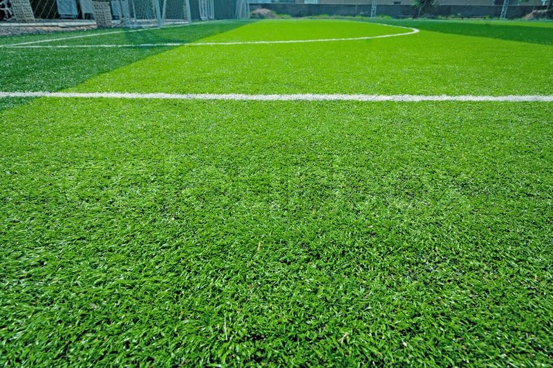 Artificial grass soccer field indoor outdoor for background, stock photo