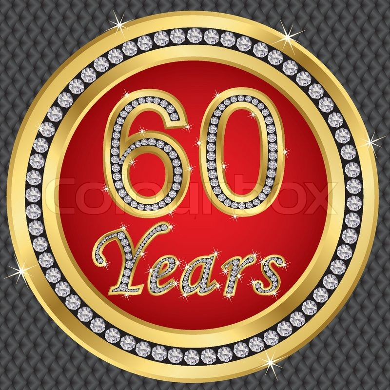 60 years anniversary golden happy birthday icon with