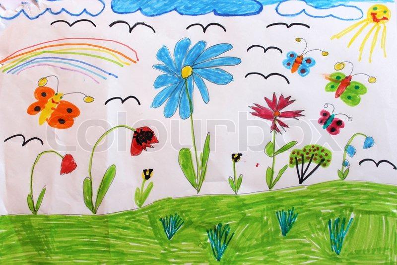 Kinderzeichnung mit Schmetterlingen und Blumen   Stockfoto   Colourbox