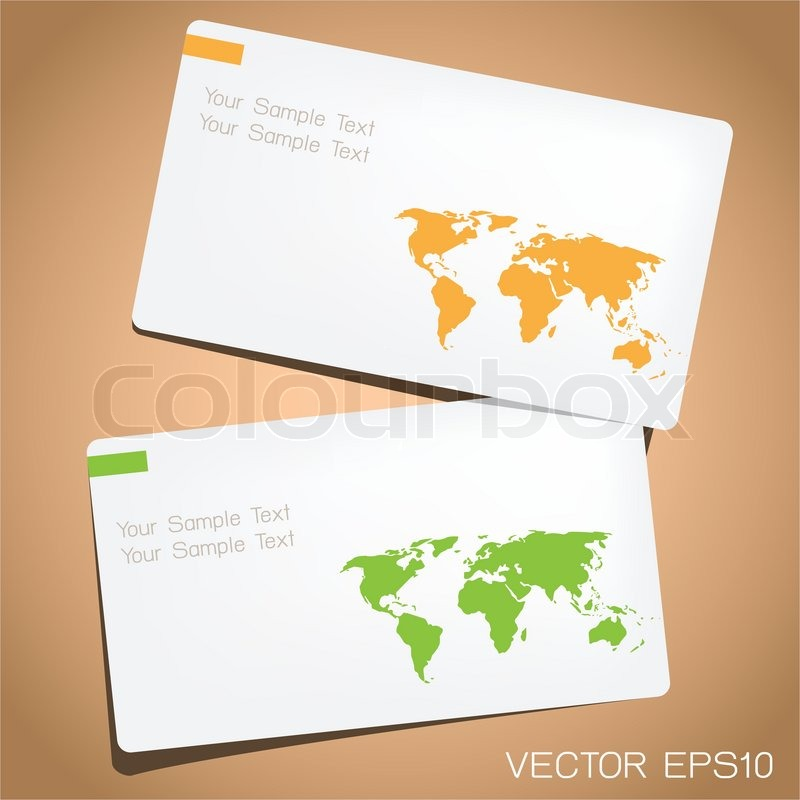 Business card in world map design. | Stock Vector | Colourbox