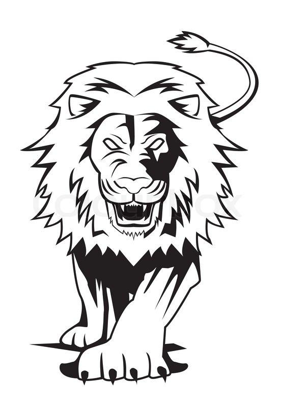 Roaring Lion Profile Tattoo Lion | Stock Vector | ...