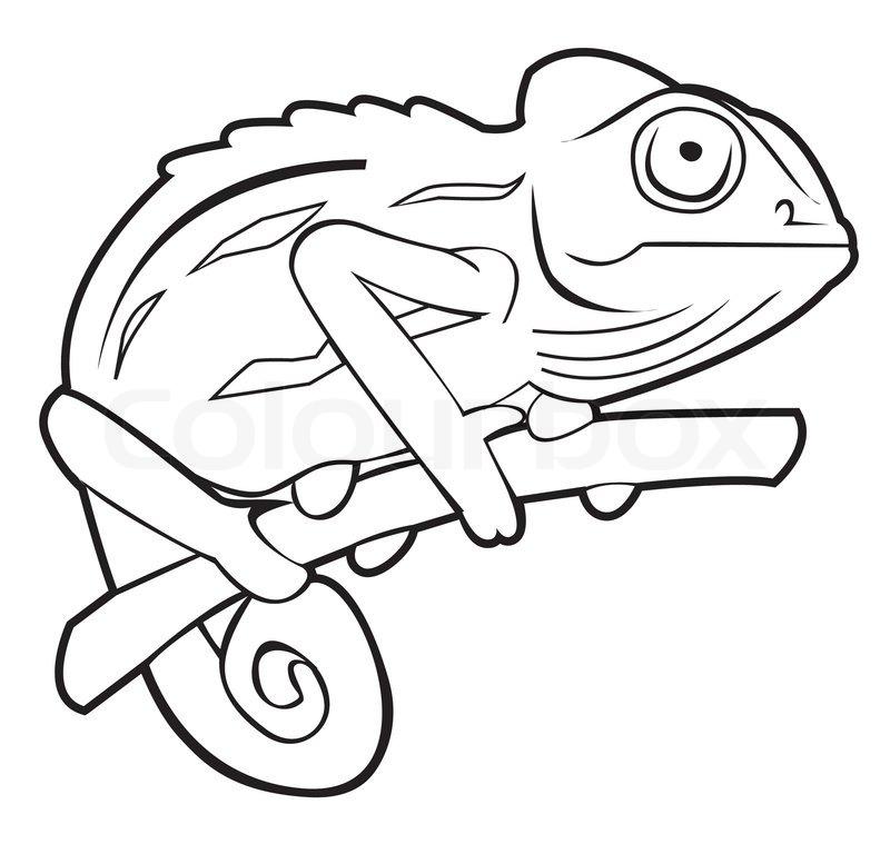 Chameleon Outline Tattoo: Stock Vector