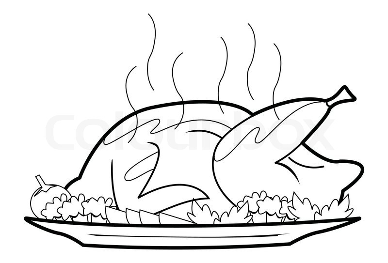 Line Drawing Chicken : Roasted chicken stock vector colourbox