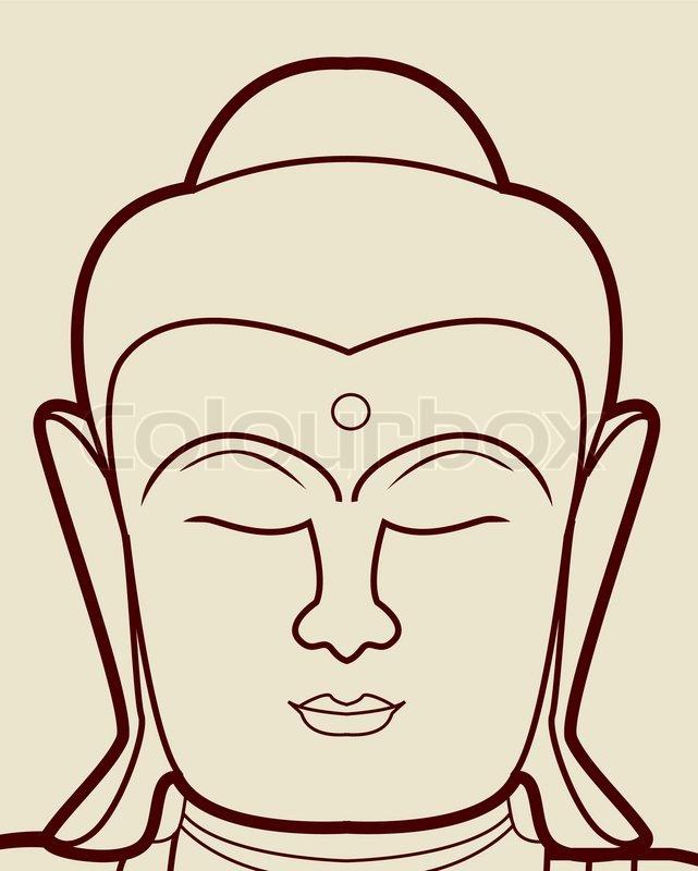 Buddha Face Line Drawing : Buddha face stock vector colourbox