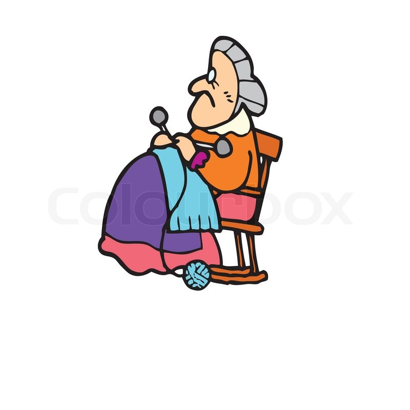 Knitting Granny Clipart : Old woman knitting is sitting on a chair stock vector
