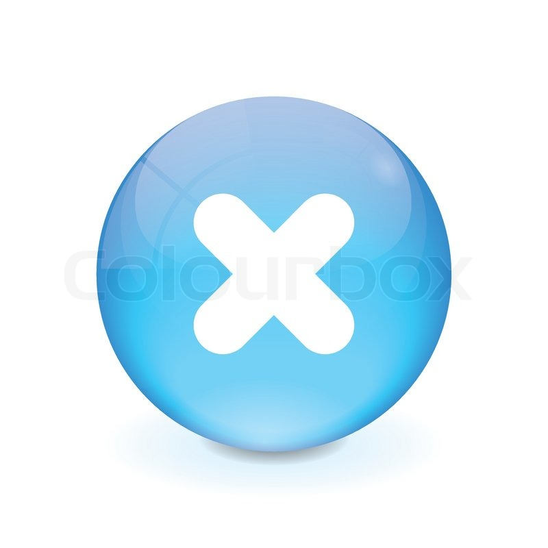 Round light blue button - cancel icon | Stock Vector ...