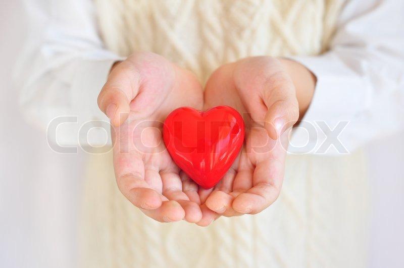 Heart in hands, stock photo