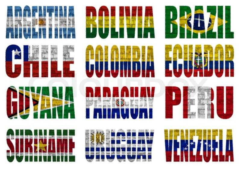 South America Countries Flag Words Stock Image Colourbox