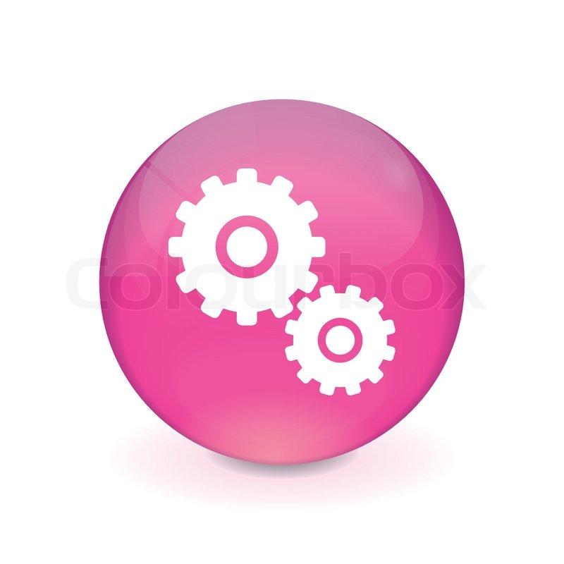 Round Pink Button - Gear Icon