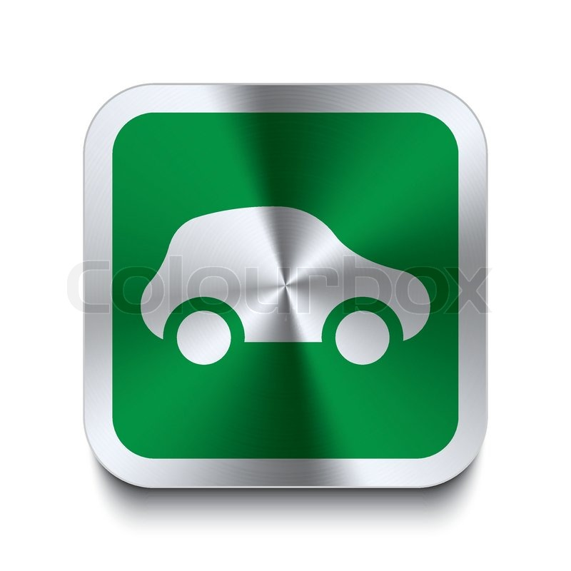 Green Car Icon Button Car Icon Green