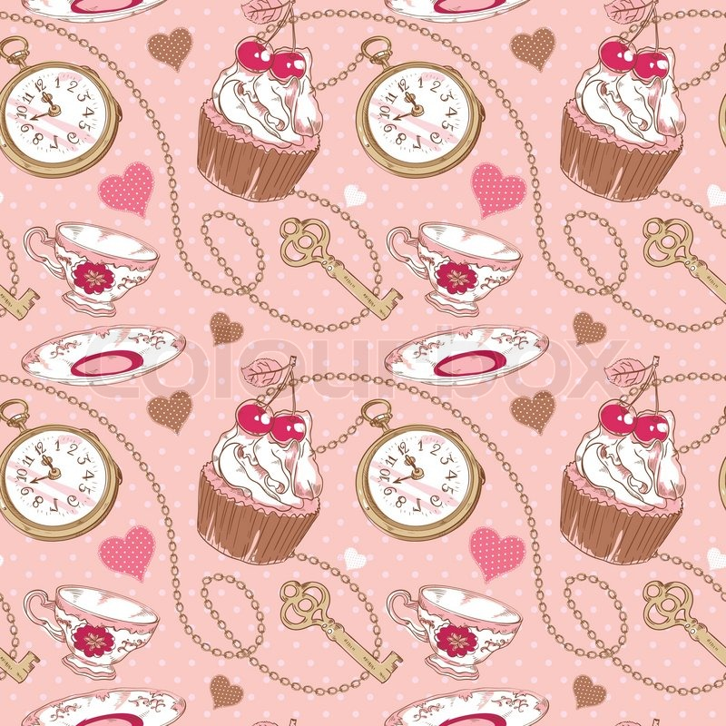 Romantic Love Vintage Pattern With Hearts Cupcake Cup Of Tea Clock Key And Chains On A Polka Dot Background