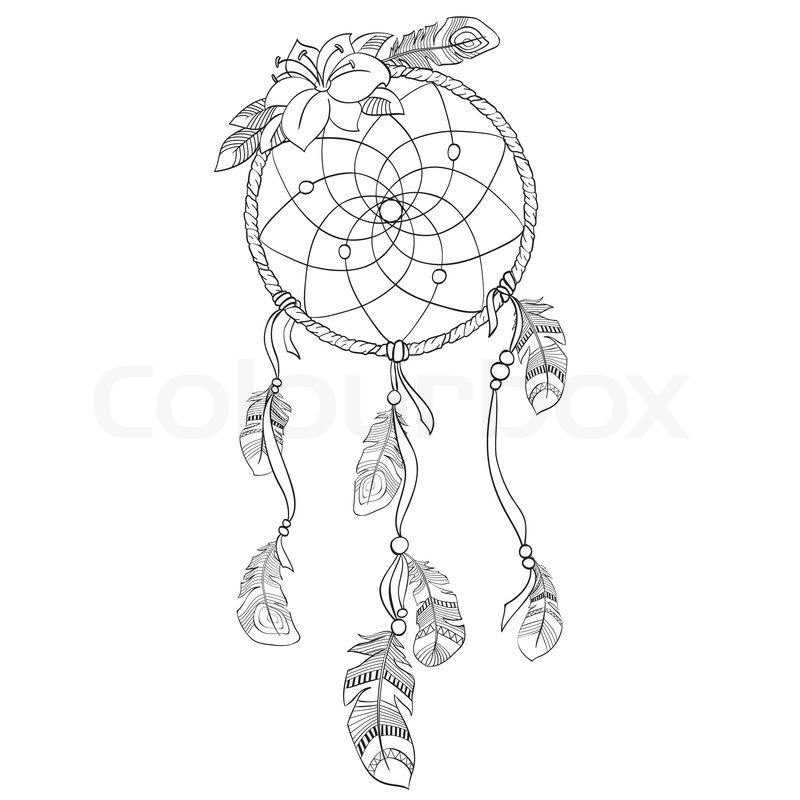 Dreamcatcher vectorillustration stock vector colourbox for Dreamcatcher tattoo template
