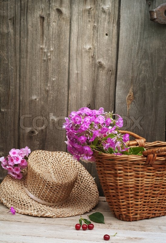 Basket of flowers and a straw hat, stock photo
