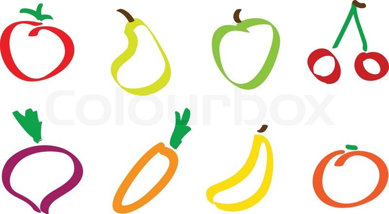 Drawing fruit and vegetable icons | Stock Vector | Colourbox