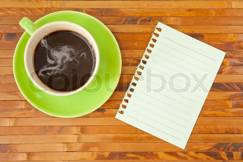 Green cup and note paper, stock photo