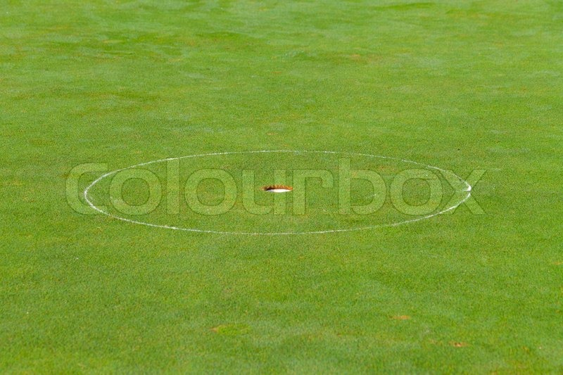 Golf hole with the green grass, stock photo