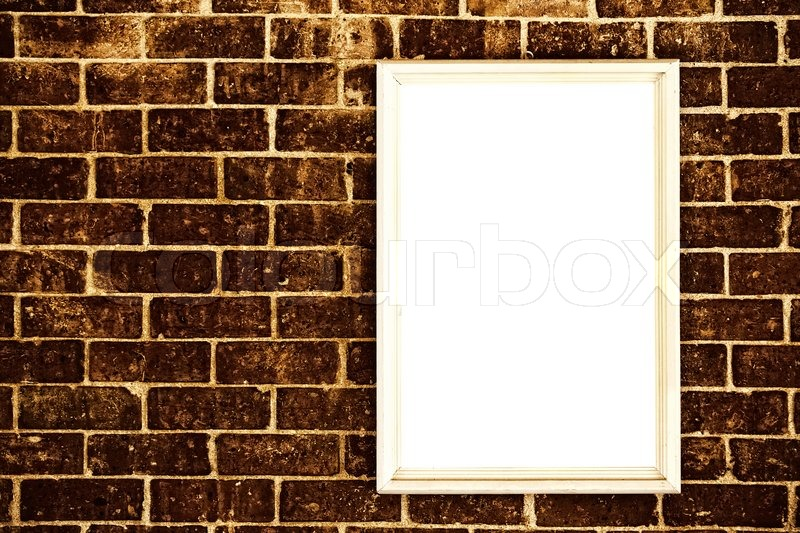 Blank frame on brick wall | Stock Photo | Colourbox