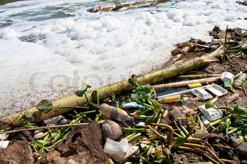 Water pollution - old garbage and pollution in river, stock photo