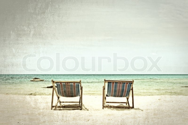 & Beach chairs processed in old style | Stock Photo | Colourbox