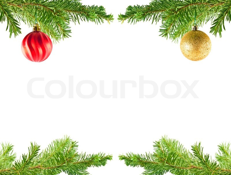 Christmas Tree Holiday Ornaments on an Evergreen Branch Frame ...