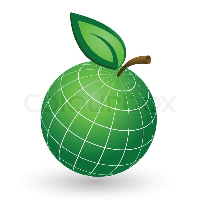 Earth Globe As Apple Symbol Stock Vector Colourbox