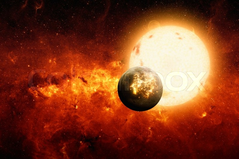 Abstract scientific background - exploding planet, big sun ...