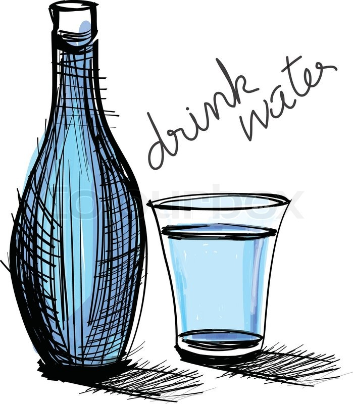 water drink in bottle and glass rough drawing  stock